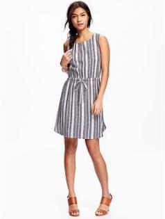 Linen Blend Tank Dress for Women - Navy Stripe
